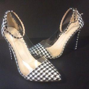 "LILLANA B/W Tweed 4.5"" High Ankle Strap Heels"